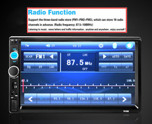 Universal 7inch 2 Din Radio HD In Dash Car Player Bluetooth Touch Screen FM Autoradio USB/SD Port MP3/MP4/MP5(China)