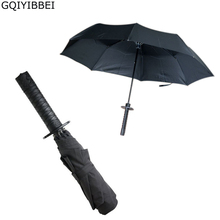 GQIYIBBEI Creative Japanese Samurai Ninja-like Sword Dagger Shape Umbrella Long-handle Black Rain Sun Folding knife Umbrellas(China)