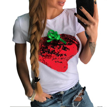 Sequined Strawberry Womens T Shirts Embroidered Short Sleeves Camisetas Female All Match Cute Summer Causal Tee Shirts Femme