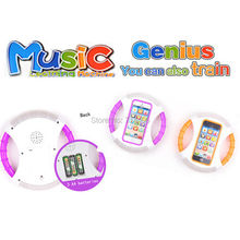 Fashion touch screen music english learning machine,educational baby toys,Yphone with music and light,steering wheel phone 8 in1(China)