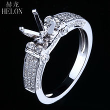 HELON Solid 14K White Gold Engagement & Wedding 6mm Round Shape 0.5ct Natural Diamond Semi Mount Women's Fashion Jewelry Ring