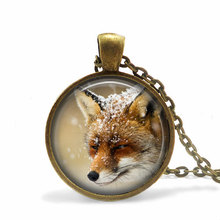 New Snowy Winter Fox Necklace Round Photo Pendant Art Handmade Jewelry Glass Cute Animal Pendants Gift For Best Friends