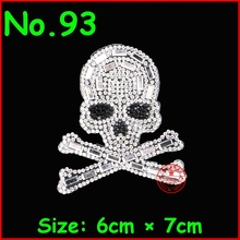 1 Pcs/Lot Cool Skull Hot Fix Rhinestone Motif Iron On Crystal Patch For Women Girl Kid T shirt Wedding Dress Clothes DIY Garment(China)