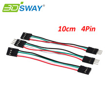 3DSWAY 50pcs/lot 10cm 4pin Jumper Wires Cables M-M Male to Female F-F Breadboard DuPont Cables for Electronic DIY Starter Kits(China)