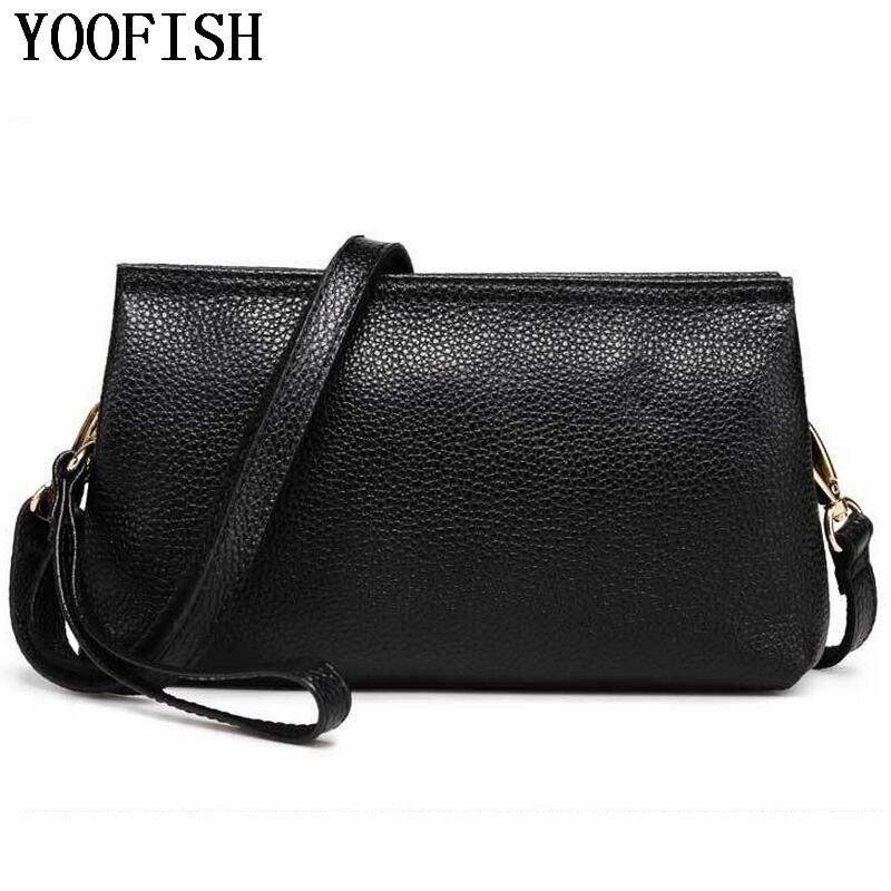 YOOFISH  2017 Genuine Leather Womens Handbags Fashion Womens Messenger Bag Shoulder Bag Ladies Crossbody Bags High Quality<br>