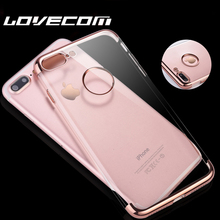 LOVECOM For iPhone 6 6S Plus 7 7 Plus Shell Electroplating Soft TPU Anti Shock Mobile Phone Cases Transparent Clear Back Cover