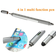 Promotional Products 40pcs Portable 6 in 1 Multi Tool Pen with Touch Screen Ruler Level Multi Screwdriver