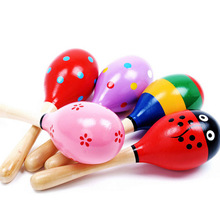 Colorful baby wooden rattle musical toys, cute cartoon mini wooden Sand hammer, educational toys sizeS 3pcs/lot(China)