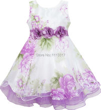 Girls Dress Tulle Bridal Lace with Flower Detailing Purple 2017 Summer Princess Wedding Party Dresses Kids Clothes Size 4-14