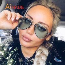 Aimade Fashion Oversize Clear Lens Rimless Aviation Sunglasses Men Women Brand Designer Big Mirror Pilot Sun Glasses For Driving