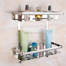 304 stainless steel bathroom shelving,bolt inserting type wall mounted dual tier bathroom shelves,Free Shipping J16520(China)