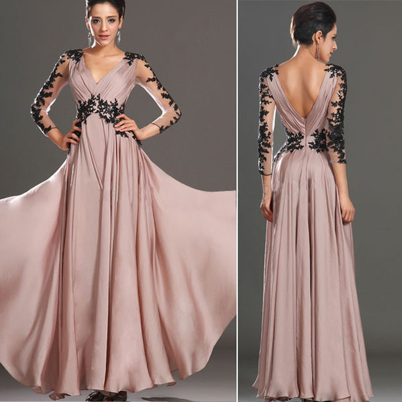 c858175db81c Detail Feedback Questions about Women Formal Long Sleeve Evening Party Ball  Prom Gown Deep V Neck Maxi Dress on Aliexpress.com