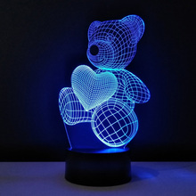 3D Led night light fixtures Heart Teddy Bear Table Lamp color changing usb craft creative veilleuse enfant baby abajur lampe(China)