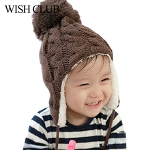 New Winter Cute Cotton Cap Edge Crochet Design Ear Protection Warm Knit Hat For boy Girl Hot Children Plus Velvet Cap WISH CLUB