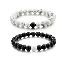 2Pcs/set New Fashion White and Black Natural Stones Couple Bracelets In Charm Beads Lovers Bracelets For Men and Women 8mm(China)