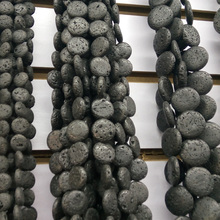 Big Size 20MM Lava Stone Coin Shape Oblate Natural Black Volcanic Beads 20MM Flat Round Volcanic Rock Beads Bracelet Making Diy(China)