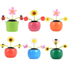 Solar Apple Flower Swing Dolls Toy Automatic Swing Sunflowers Car Interior Decorations(China)