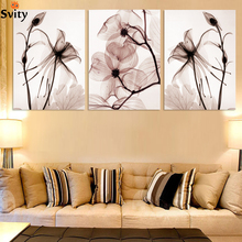 3 Pcs Hot sell Transparent flowers canvas painting Modern Home Decoration Living Room or Bedroom Print Painting Wall picture(China)
