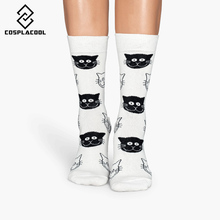[COSPLACOOL]New cotton women socks cat face pattern in tube socks personality chaussette femme calzini harajuku autumn winter