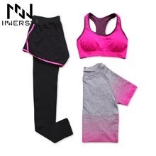 Innersy New women 3 pcs yoga set (shirt+pants+bra) jogging suits fitness gym tracksuit clothing quick dry sports suit Jzh148(China)