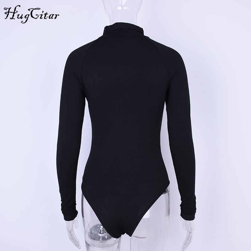 Cotton Long Sleeve, High Neck Bodysuit, Women's Solid Sexy Bodysuit 19