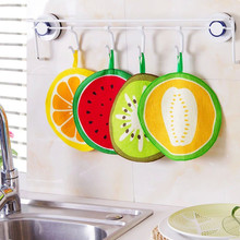 10Pcs/Lot Handing Fruit Hand Towel Wiping Napkin Dish Dry Cloth Candy Color Cartoon Design Pattern Absorbent Kitchen Tool V3599