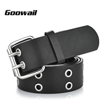 Goowail 2017 Gold 2 Row Grommet Fashion Belts For Women Double Pin Buckle Designer PU Leather Waist strap for ladies jeans
