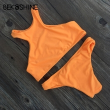 BEKOSHINE Swimwear 2017Fashion Women Bikini Sets Orange Swimsuit Sexy High Neck Bikinis Low Waist Biquini maillot de bain femme