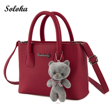 HOT!New Arrival Vintage Tote Bag Women Leather Handbags Ladies Party Shoulder Bags Fashion Top-Handle Bags Ladies Cute Bear Drop