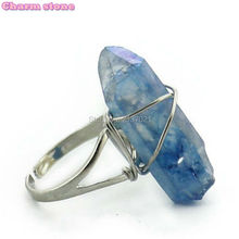 natural crystal Energy stone long rings jewelry rainbow individuality rings for women Fashion Christmas birthday gifts