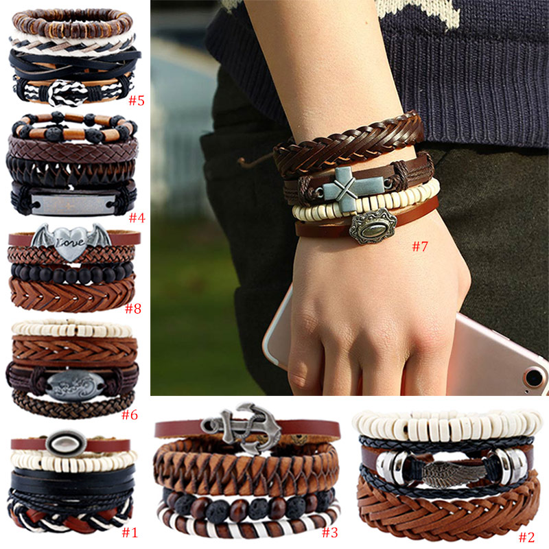 Adjustable Men Bracelet Wooden Multilayer Bead Beaded Woven DIY Bracelet Rope Leather Bracelet Jewelry @M23