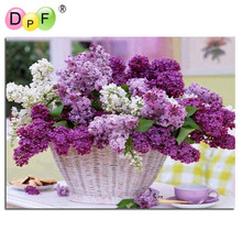 Diamond painting cross stitch Purple flower baskets mosaic&Diamond embroidery&Square full pattern rhinestone kits for needlework(China)
