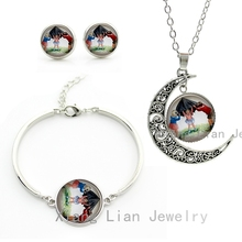Children Happy Holiday vintage photo moon necklace earrings bracelet fashion women jewelry sets child kids Christmas gift CM105