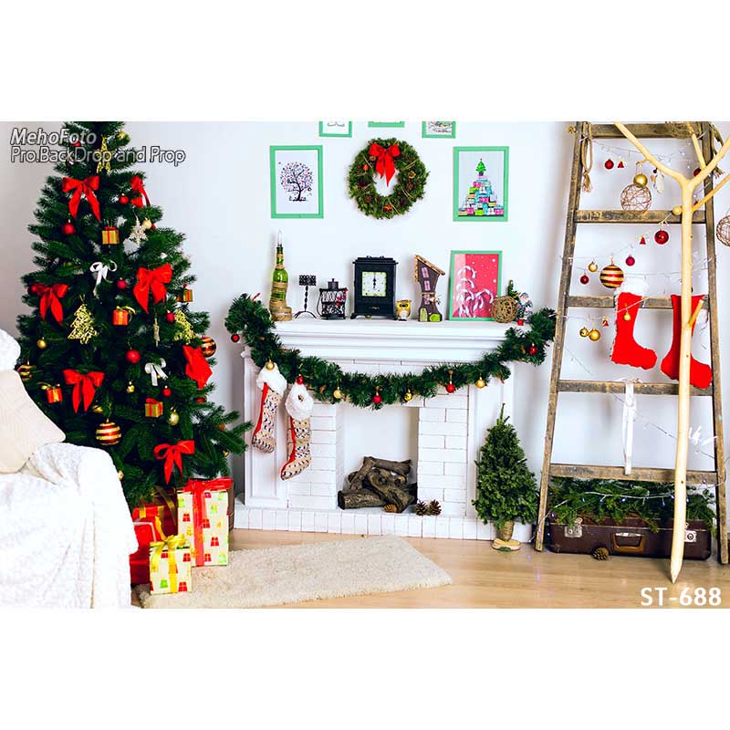 Купить christmas background vinyl pography backdrops computer printed tree and gift box for po studio st-68 цена, описание, фото