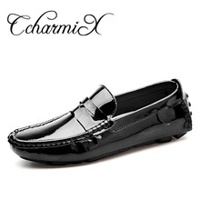 CcharmiX Large Size 13 Handmade Patent Leather Men Casual Shoes Slip On Leisure Men Driving Penny Loafers High Quality Office(China)