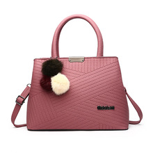 Designer Women Bags Luxury Handbags Faux Fur Pendant Pink Tote Bag Vintage Brand Women Leather Bags Square Female Shoulder Bag