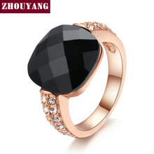 Top Quality ZYR339 Black Acrylic Vintage Party Rings Cat Ring Rose Gold Color Austrian Crystals Wholesale(China)