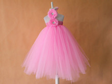 2015 Handmade European and American Style Pure Pink sunflower Children Dress baby girls Birthday/Party flower tutu dress