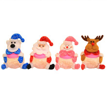 1 PCS Christmas Cute Candy Jar Christmas Sugar Bowl Santa Claus Snowman Elk Christmas Candy Packaging Christmas Candy Jar(China)