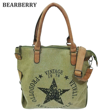 BEARBERRY 2017 high quality printed star letters canvas bags Big Size Multifunctional Travel Shoulder Bag Factory Outlet Bolsos