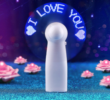 Creative DIY Flash the word light emitting mini fan portable handheld customized LED fans good present for lover&friend