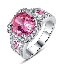AAA CZ Lab Factory Direct Jewelry Pink CZ Plated Silver Ring Size 7 8 9 10 women Free Shipping Wholesale