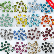 144p 6mm Sew On crystal cut glass cup claw diamante Rhinestone jewels Montees silver setting 4 Hole Beads Craft Gems multi-color(China)
