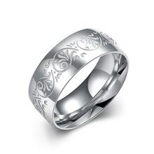 Ring 2016 new creative business atmosphere can be engraved titanium steel rings Men Women European and American fashion jewelry