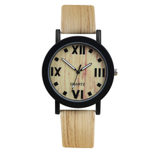 Relojes hombre 2017 New Fashion Quartz-watch Men Women Simulation Wood Casual Wood Watch Leather Wood Wristwatch Male Wood Clock