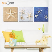 3 panels home paintings canvas painting starfish Beach blue art paint on canvas  home picture decorative oil painting Wall art