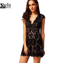SheIn Women Sexy Lace Dresses 2016 Ladies Party Plain Cap Sleeve V Neck Line Pleated Mini Dress - Official Store store