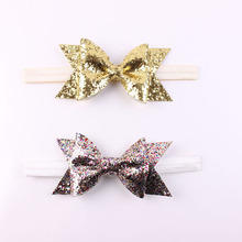 1 Pcs Gold Glitter Bow Headband For Kids Glitter Fabric Bow Bowknot Newborn Headwear Hair Bands Accessories