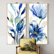 abstract Floral blue colorful art print canvas painting on the wall home decorative pictures for living room YH29-1737