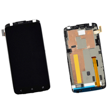 Black Touch Screen Digitizer Sensor Glass Lens +LCD Display Monitor Panel Assembly with Frame For HTC One X S720e G23